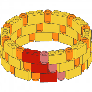 Brick 1 x 2 Ring with 1 x 1 Round Bricks