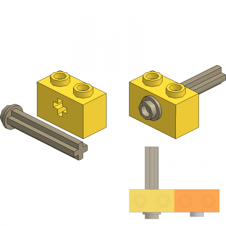 Axle 3 with Stud in Technic Brick
